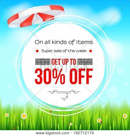 Summer selling ad banner. Thirty percent holiday text discounts. Big yellow sun, green field, white clouds and blue sky. Template for shopping, advertising signboard, price reduction poster or banner.