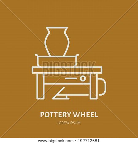 Pottery workshop, ceramics classes line icon. Clay studio tools sign. Hand building, sculpturing equipment - potter wheel, turntable. Thin linear sign for art shop.