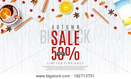 Beautiful web baner for autumn sale. Vector illustration. Top view on composition with cup of mulled wine, orange, rowan, cinnamon sticks on wooden texture.