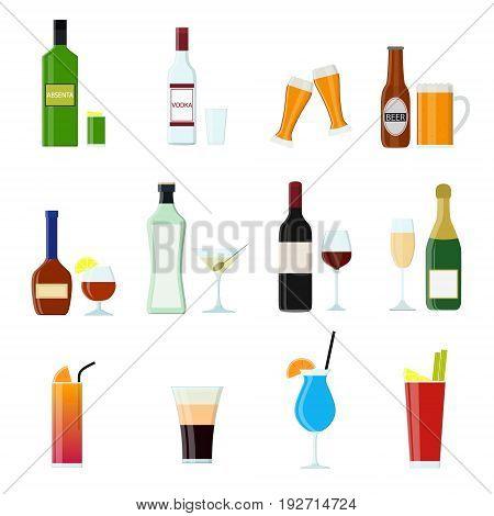 Cartoon Alcoholic Beverages Tasty Drink Color Icons Set for Celebration Bar, Pub and Restaurant Flat Style Design. Vector illustration