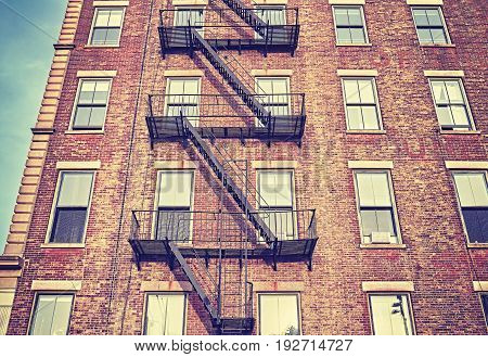 Residential Building Fire Escape In New York City.