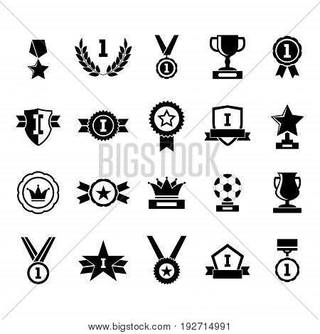 Silhouette Black Awards Icon Set Symbol of Success Sport and Business Competition Isolated on White Background. Vector illustration