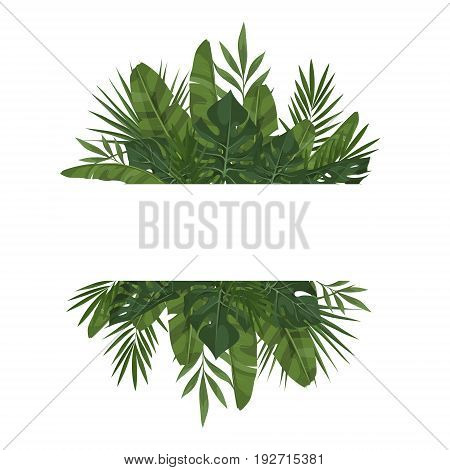 Vector template with tropical leaves. Trendy summer tropical concept. Element of the jungle for the design of invitations greeting cards etc.