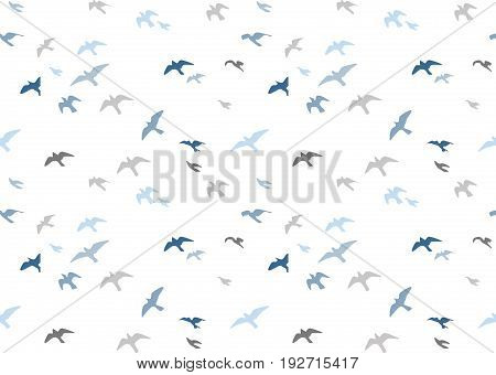 Seagulls silhouettes seamless pattern. Flock of flying birds blue gray semitone silhouette. Sea-gull cute painted bird Vector for wrapping paper cute design fabric textile isolated white background.