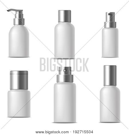 Realistic Template Blank White Bank or Bottle Cosmetic Cream Set Empty Mock Up Packaging Beauty Container. Vector illustration