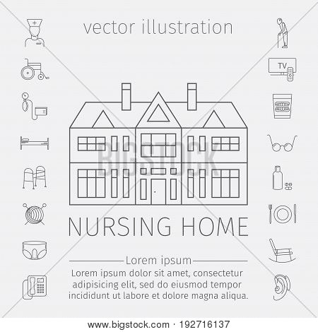 Nursing Home line icon. Medical Care for The Elderly. Symbols of Older People Vector illustration.