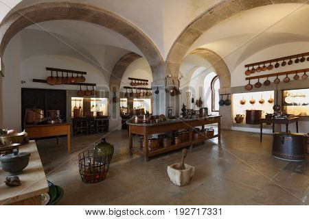 SINTRA, PORTUGAL - MAY 10, 2017: Interior of kitchen in the National Palace of Sintra. Since 1995, the cultural landscape of Sintra is listed as UNESCO World Heritage