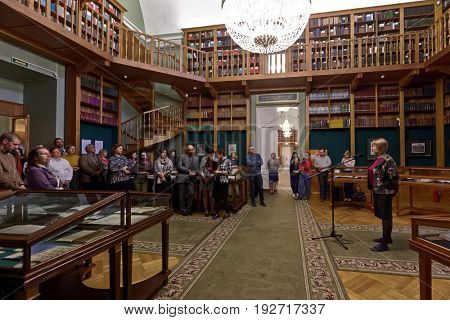 ST. PETERSBURG, RUSSIA - MAY 25, 2017: Opening of the exhibition Peter The Great And His Paradise in the main building of National Library of Russia. Exhibition is dedicated to 314 anniversary of city