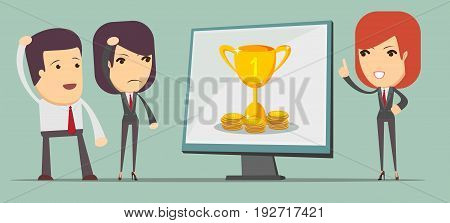 Businesswoman giving a presentation about success and wealth. Stock vector illustration