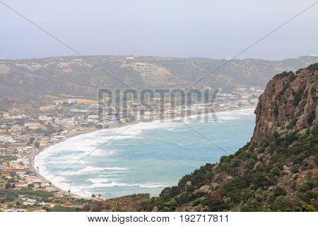 Waves of stormy sea in Kefalos bay on Kos island Greece.