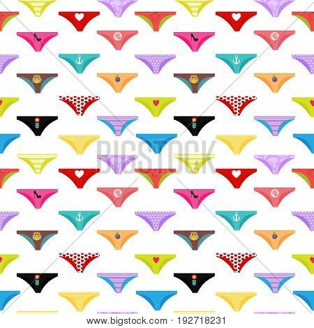 Multicolored Briefs, Pants Collection Seamless Pattern Background. Vector Illustration EPS10