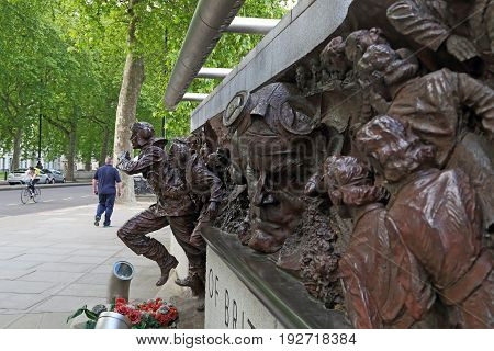 LONDON, GREAT BRITAIN - MAY 15, 2014: It is a fragment of the Battle of Britain monument on the Victoria Embankment.