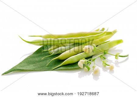 fresh organic green beans isolated on white background