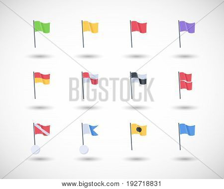 Beach warning flags vector icons set Flat design of international beach flag signs with round shadow isolated on the white background vector illustration