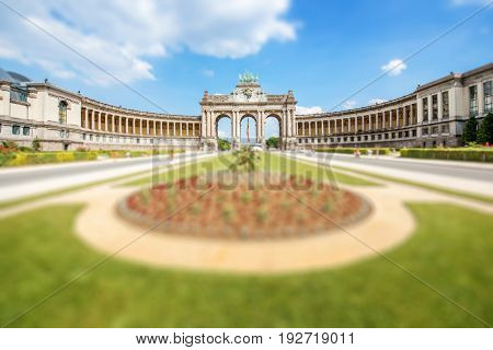 Viewon the Triumphal Arch in Cinquantenaire park in Brussels. Tilt-shift image technic