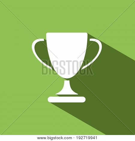Trophy icon with shadow on green background
