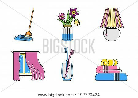 Window with line curtains, flowers vase, mop broom, toothbrush, towels, table lamp. Simple flat hipster outlined household symbols isolated on white background