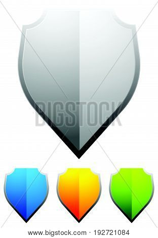 Glossy Blank Shield Shapes. Shield, Armor Design Elements, Shield Icons