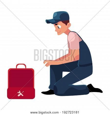 Smiling plumbing specialist, plumber sitting with wrench and open toolbox, cartoon vector illustration isolated on white background. Side view portrait of plumber, plumbing specialist with a toolbox