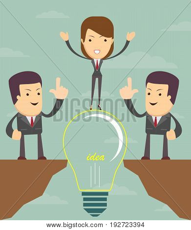 Cartoon people cross the abyss. Doodle cute miniature scene of team on the bridge like lamp idea. Vector illustration for business design and infographic