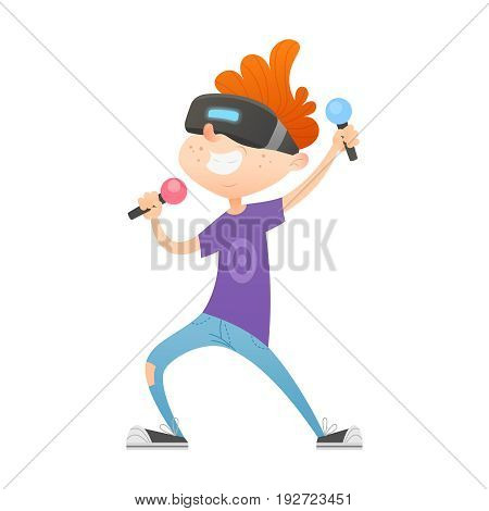 Cartoon boy character playing videogames in virtual reality with VR headset on his head, holding controllers, having fun. Great for games presentation, print media for teenagers and web design