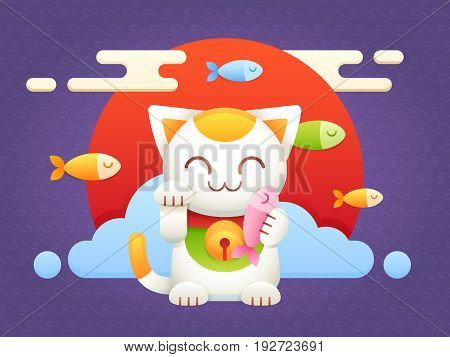 Maneki Neko lucky charm flat vector cat character with fish and oriental background, red sun and japanese waves