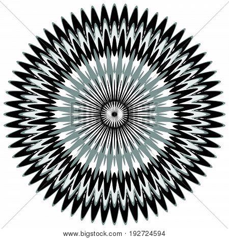 Generic Circular Motiff, Mandala. Abstract Grayscale Geometric Element