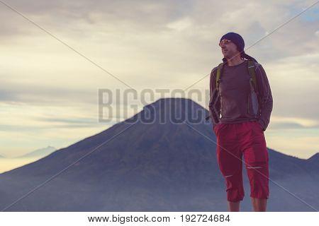 Hike in  volcanic region in Java island, Indonesia