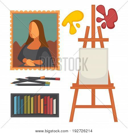 Art equipment collection and masterpiece colorful vector poster in flat design isolated on white. Artistic designers elements for painting and creative work, blank easel, red and yellow spots