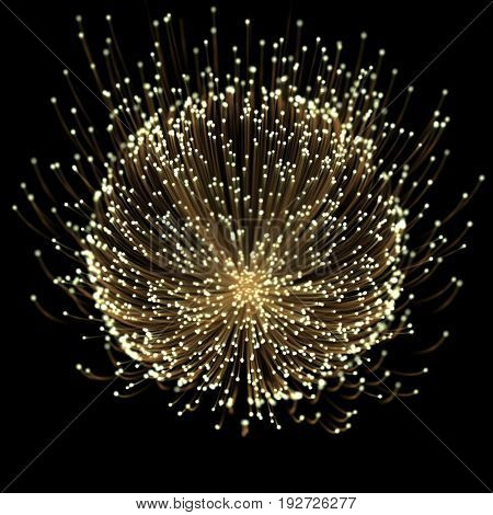 Gold light flower of rays tracing effect with gold neon line and glowing glitter star dust particles on black background.