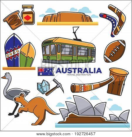 Australian traditional symbols colorful collection isolated on white. National animals, urban transport, delicious food, sport and music kinds signs. Australia map for tourists of cultural sightseeing
