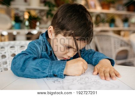 Little boy, 4-5 year old, sits at a table and draws a brown pencil
