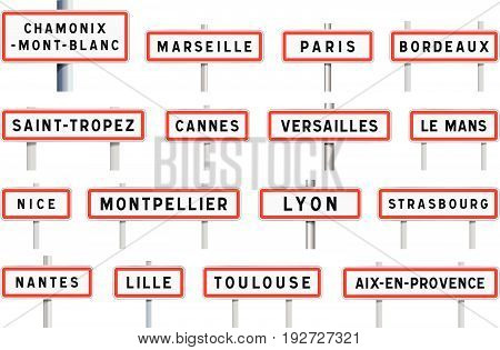 Vector illustration of some famous French cities entrance road signs