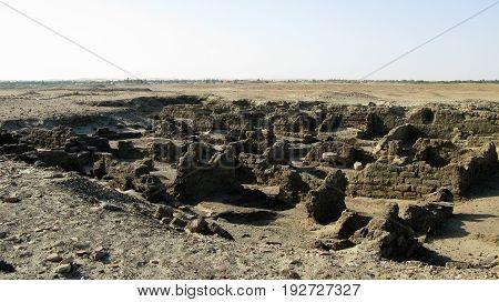 Ruined fortress at the Sai island on Nile river Sudan
