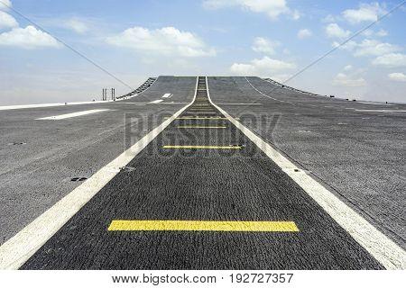 battleship runway blue sky , concept for challenge, progress