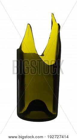 Broken bottle green isolated on white background