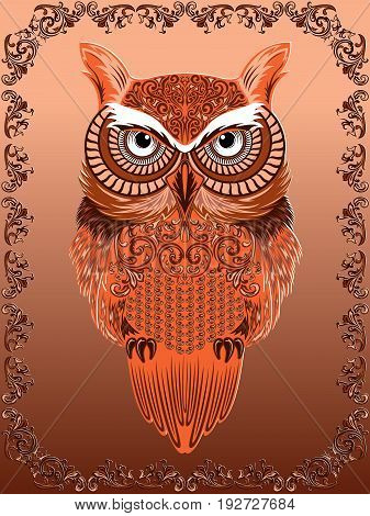 Big Serious Ornate Owl