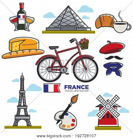 Travelling to France, touristic map with traditional elements in colors isolated on white. Vector poster of Eiffel Tower, Louvre, cup with croissant, red wine and cheese, art kinds and clothes types