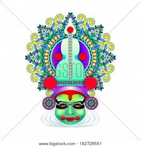 indian kathakali dancer face decorative modern vector illustration for happy onam holiday