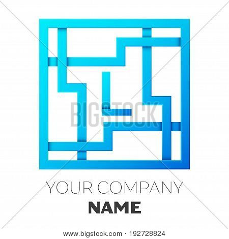 Realistic Letter L vector logo symbol in the colorful square maze on white background. Shadow Breaks. Vector template for your design
