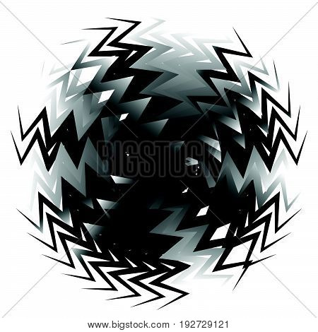 Geometric Circle Element Made Of Overlapping Edgy Shapes. Abstract Black And White Circular Shape