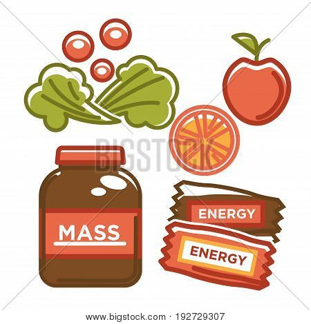 Ecological fruit and vegetables with energy chocolate bars and mass jar. Graphic vector close up illustration in flat design of healthy and nutritional food for people. Bio nutritious snack products