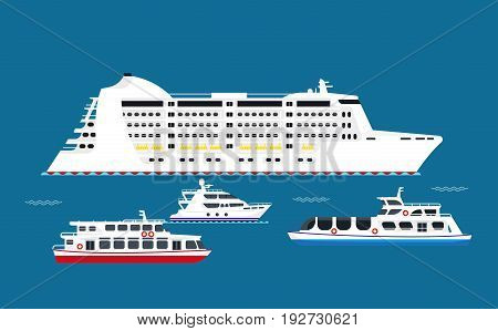 White vessels in sea vector illustrations set. Huge cruise liner that can carry more than thousand people, shallow-water boat, private modern luxury ship and passenger ferry on water surface.