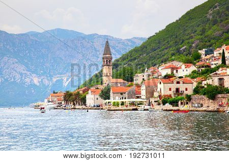 Picturesque Perast town on the shore of Kotor Bay, Montenegro