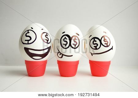 Concept Of Business. Share. Eggs With Painted