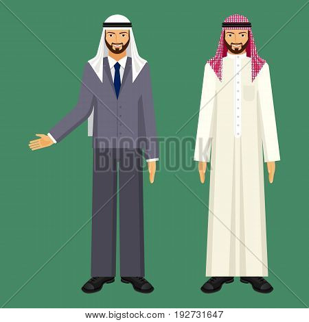 Arabic businessman in white robe and checkered arafat and in grey office suit with blue tie and traditional headgear isolated vector illustrations set.