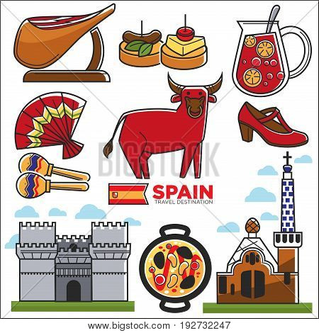 Spain travel destination promotional poster with customs vector illustrations. Delicious humbug, tasty canapy, traditional fan, yellow maracas, red bull, shoe for flamenco and authentic buildings.