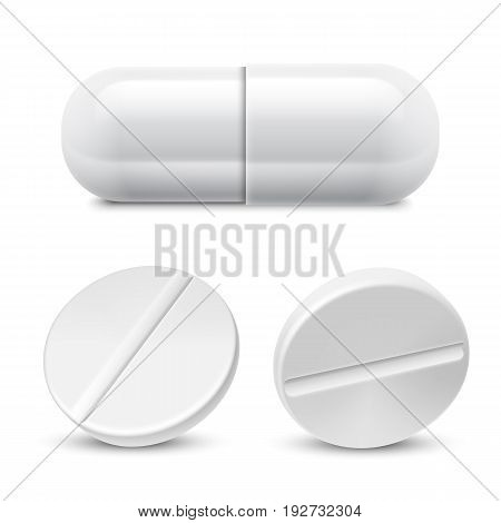 Collection of white medicine pills. Medical drugs isolated on white background