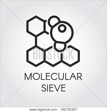 Linear icon of molecular sieve concept. Vector series labels of chemical formulas and compounds. Black contour pictograph
