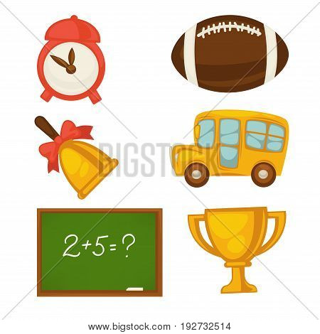 Red mechanical alarm clock, brown baseball, golden bell with bow, compact school bus, blackboard with mathematical example and gold winning cup isolated vector illustration on white background.